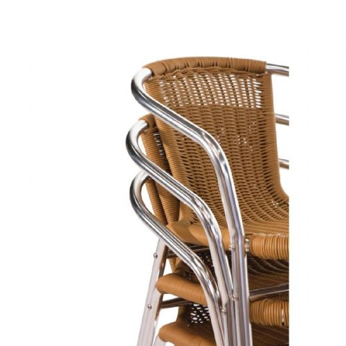 Bolero Aluminium and Natural Wicker Chair (Pack of 4) - U422